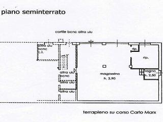 PLANIMETRIA MAGAZZINO PIANO SEMINTERRATO 138 MQ